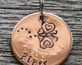 """Custom Pet Tag - Heart Butterfly - 7/8"""" Copper Pet ID Tag - Hand Stamped Cat ID Tag"""