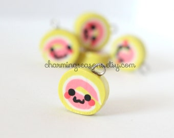 Kawaii Cake Roll Charm, Cake Swirl, Strawberry and Cream Dessert Jewelry, Kawaii Face