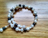 NURSING BRACELET - Ivory and Black Freshwater Pearl - Great Baby Shower Gift