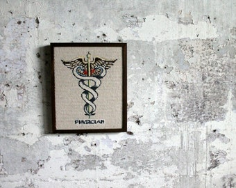 Vintage Framed Crossed Stitched Caduceus