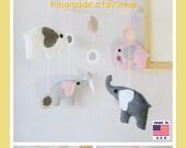Baby Crib Mobile, Nursery Mobile, Room Decor, Elephants Mobile, Polka Dot Pink Gray White Elephants theme,Custom Mobile