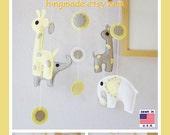 Baby Crib Mobile, Nursery Mobile, Modren Mobile, Elephant Mobile, Giraffe and Elephant Mobile, Yellow and Gray, Custom Mobile