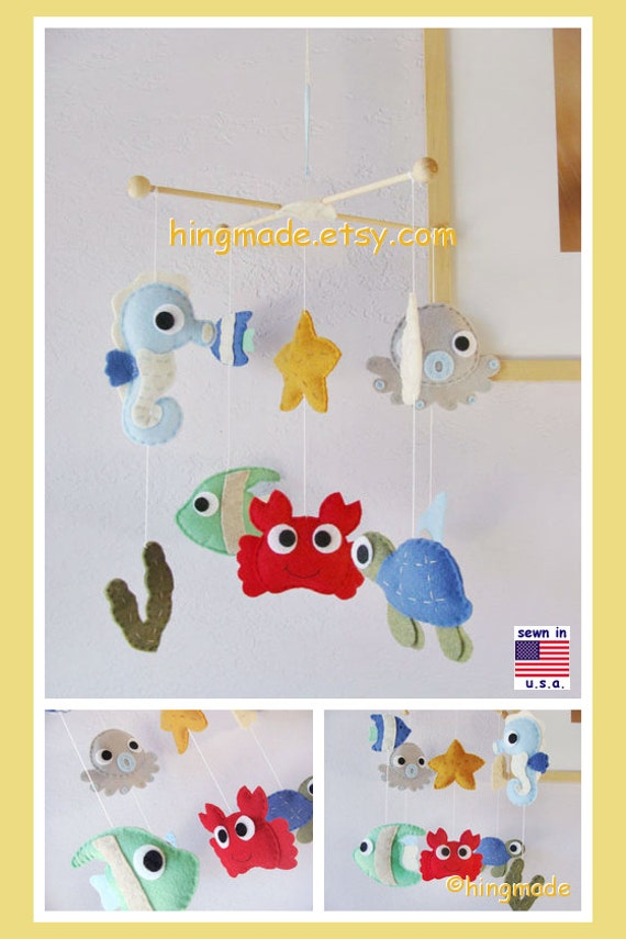 Baby mobile under the sea mobile sea animal mobile cot by for Sea animal baby mobile