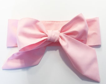 Fabric Bow Headwrap - Baby Pink Solid - Infant Headband - Fabric Headband - Baby Headband - Topknot Headband - Toddler Headband Big Bow