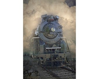 Old Vintage Railroad Steam Locomotive Engine, The Pere Marquette Number 1223 in Michigan No.00634 A Train Landscape Photograph
