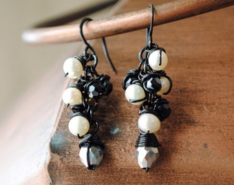 VINEYARD -- Cascade pearl earrings, Silver black and white earrings, Neutral color earrings, Handmade jewelry, American made, Made in USA