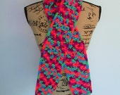 Hand crocheted scarf, bright colors, purples, pinks, blues, greens, oranges