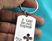 Phil. 4:13 hand stamped dog tag scripture key chain