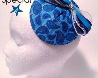 CMTA blue paisley fascinator hat. 50% of sale goes to charity.