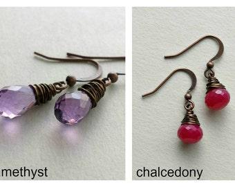 SALE Tiny Gemstone Drop Earrings, Hot Pink Gemstone Earrings, Sleeping Beauty Turquoise, Amethyst Drops, Small Gemstone Earrings: 25% Off