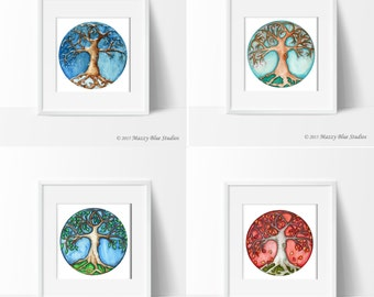 Print Set of Tree Seasons Fall Autumn Winter Spring Summer Watercolor Set in Size 5x7 or 8x10 --  Set Of 4