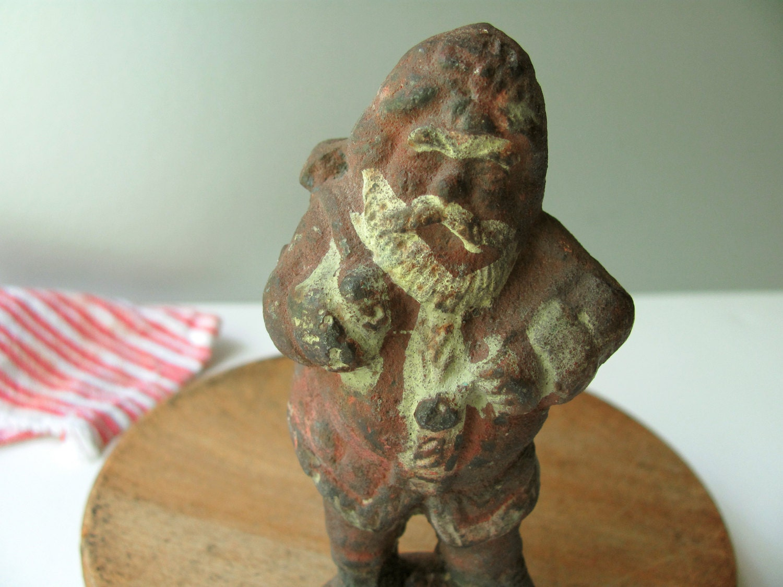 Vintage Cast Iron Santa Claus Figurine 1822 Bag Of Toys Pipe