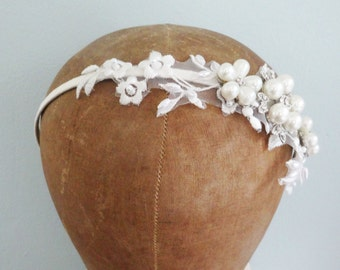 Vintage Lace Pearl and Rhinstone Bridal Headband - Ivory