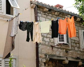 Laundry Art - Dubrovnik Croatia Photography - Clothesline Print - Laundry Room Decor - Beige Orange Tan - Rustic Photo - Travel Photography