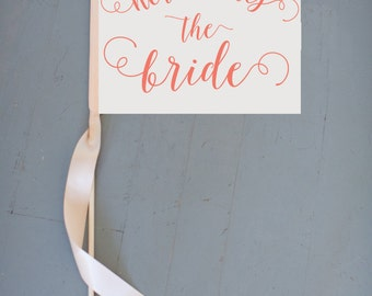 Here Comes The Bride Flower Girl Sign Ring Bearer Banner Wedding Flag | Pennant Toddler | Modern Rustic Romantic Curly Script Font