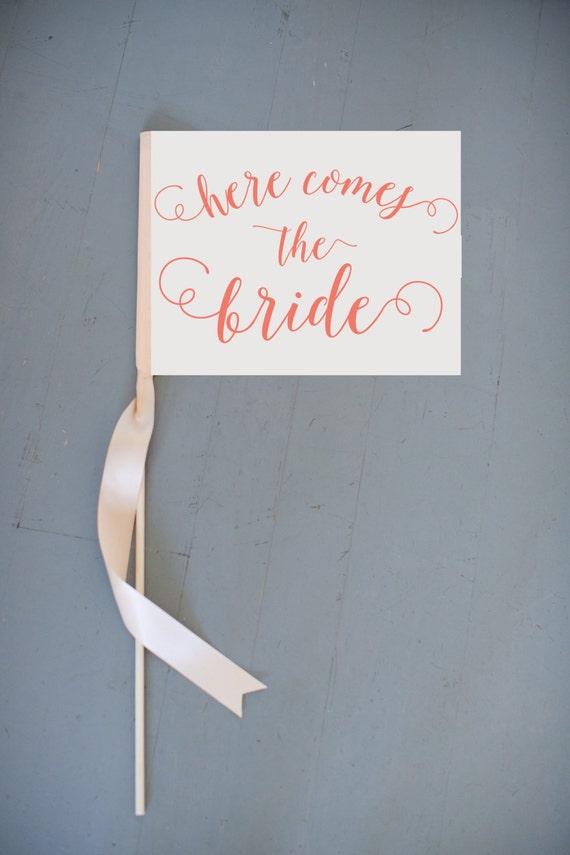 Here Comes The Bride Flower Girl Sign Ring Bearer Banner Wedding Flag | Pennant Toddler | Modern Rustic Ceremony | Romantic Script Font 1012