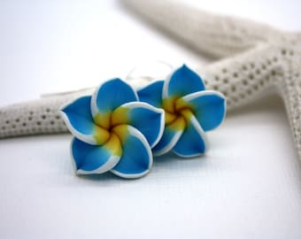 Blue Flower Earrings, Floral Earrings, Tropical Flower Blue Earrings, Plumeria Frangipani Flower Jewelry Hawaiian Jewelry Hawaii Jewelry 030