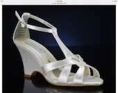 Wedding Shoes - T Strap Wedge Sandal- Custom Colors- PBTU2.5 Women's Bridal Wedge Shoes