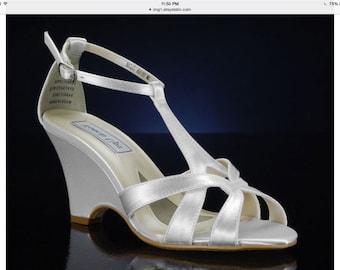 Wedding Shoes - T Strap Wedge Sandal- Custom Colors- PBTU2.5 Women's Bridal Wedge Shoes