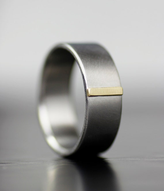 Men 39 S Gold Tab Modern Wedding Band Unique Simple Wedding