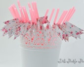 Romantic Pink Floral Party Straws - 25 count - bridal baby shower, 1st  birthday