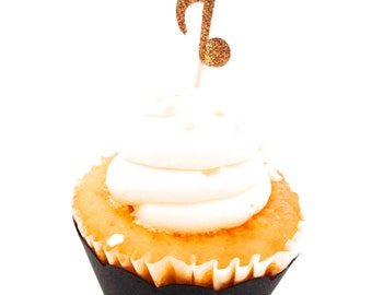 24 Gold Glitter Music Note Cupcake Topper - Party Pick - Food Pick