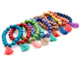 Gemstone Bracelet, Mala Bracelet, Tassel Boho Bracelet, Stacking Bracelet, Yoga Jewelry, Meditation Bracelet, Gemstone Mala Bracelet