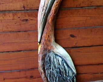 Pelican on the Pier 4ft. chainsaw carved saltwater wild bird sculpture coastal living home wall mount rustic indoor outdoor wooden pelican