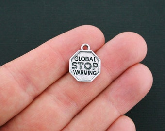 4 Stop Global Warming Charms Antique Silver Tone - SC1238