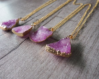 Raw Gemstone Druzy Drusy Pendant Necklace Pink Gem Necklace 11178
