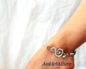 The Music In Me Music Note Anklet Clef Note Anklet Crystal Silver Ankle Bracelet Music School Graduation