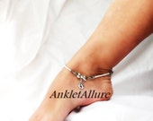 Surf n Sand Beach Anklet Feet in the Sand Anklet 2 tone Crystals Beach Resort Ankle Bracelet  Silver Heart Ankle Bracelet