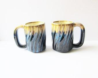 Art Pottery Mugs - Vintage Cystalline Studio Art Pottery - Hostess Gift Idea - Blue Opaline Glaze - Gift For Dad - Beautiful Coffee Mugs