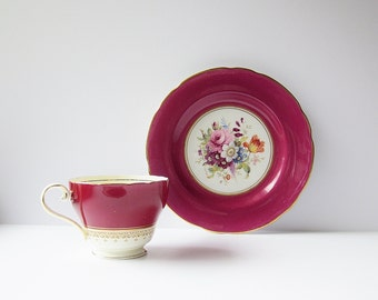Maroon Red Aynsley China Tea Cup And F Howard Signed Hammersley China Plate - Vintage Mismatched Cup And Saucer Set - English Bone China