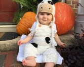 Baby Cow Costume - Cow Hat and Overalls Set - Cow Hat - Halloween Baby Costume Set - Cow Hat and Pants with Tail - by JoJosBootique