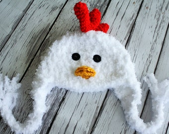 Chicken Hat - Baby Hat -  Baby Chicken Hat - Chicken Little Hat - Soft Baby Costume Hat - Baby Photo Prop - by JoJosBootique