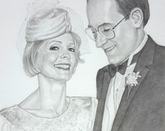 Custom pencil portrait drawing commission wedding