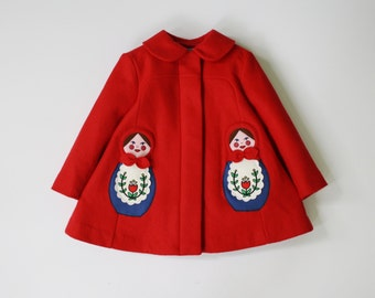 Girl's Red Coat// Matryoshka Coat//Russian Nesting Dolls Coat// Handmade Wool Coat// Girls Dress Coat