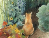 "Orange cat in a green garden - ACEO Art Reproduction (Print) - ""Curiosity"""