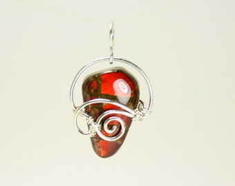 Stunning Red Ammolite Pendant, Wire Wrapped with Sterling Silver