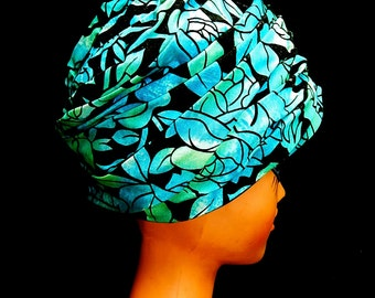 Vintage stylish 50s turquoise blue green black velvet roses flowers bombshell Tiki Hawaiian pleated hat pill box turban by Sears Fashion