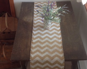 Extra Long Burlap Chevron Table Runner 12 14 X 132 Or 144 White Chevron  Rustic