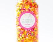 Jumbo Bottle (16 oz) Sherbet Sprinkle Medley, Sprinkle Mix, Cake Sprinkles, Pink and Orange Sprinkles, Green Sprinkles