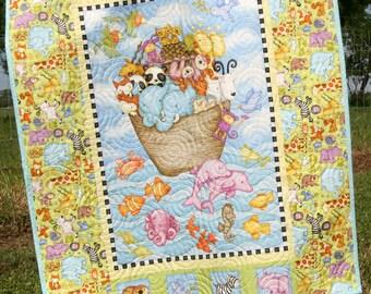Animal Baby Quilt, Noah's Ark, Biblical Gender Neutral Crib Bedding, Boy Girl, Monkey Giraffe Lion Tiger Elephant Dolphin, Nursery Bedding