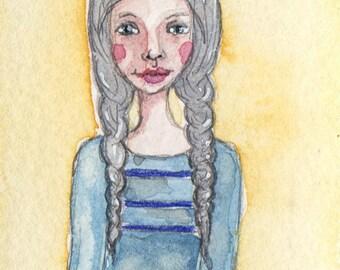 ACEO, OOAK, Lady in Braids, Watercolor, Primitive Art, ATC