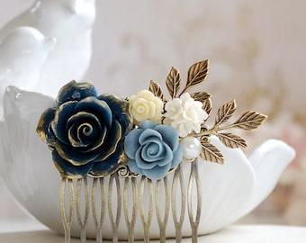 Wedding Hair Accessory Bridal Hair Comb Dark Blue Rose Flower Hair Comb Navy Blue Dusky Blue Blue Wedding Hairpiece Bridal Bridal Headpiece