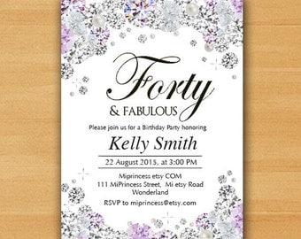Glam birthday invitation, Rhinestone diamond elegant invite 30th 40th 50th 60th 70th 80th Thirty Forty Fifty Sixty and fabulous  - card 593
