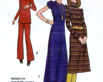 Butterick 6407 Vintage 70s Misses' Dress, Top and Pants Sewing Pattern - Uncut - Size 12 - Bust 34