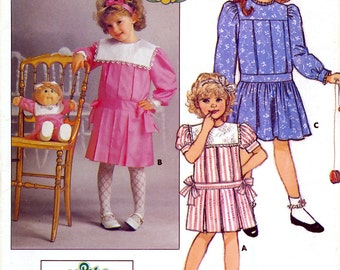 Butterick 3552 Vintage 80s Children's Dress and Transfer Sewing Pattern - Uncut - Size 2