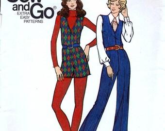 Butterick 6762 Vintage 70s Junior Petite Jumpsuit Sewing Pattern - Uncut - Size 11jp - Bust 34